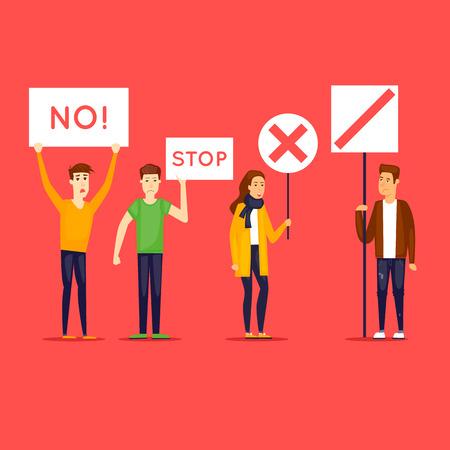 Strike, protest, riot, rally. Flat design vector illustration. Ilustração