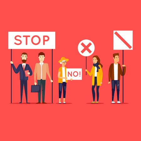 Strike, protest, riot, rally. Flat design vector illustration. Ilustracja