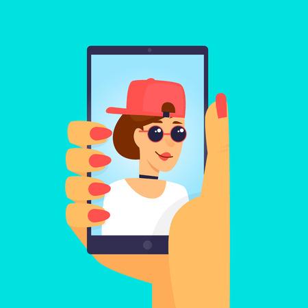 Girl makes selfie. Flat design vector illustration.