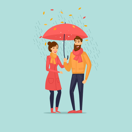 Autumn couple with an umbrella in the rain. Flat design vector illustration. Фото со стока - 84855700