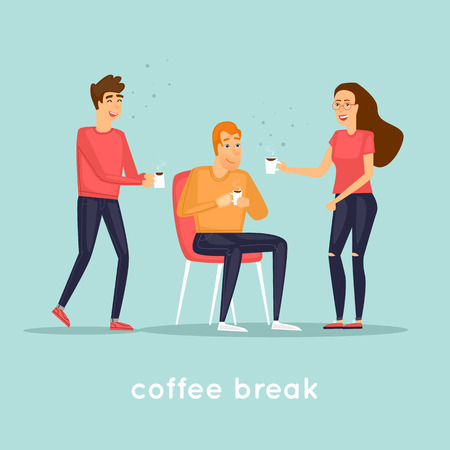 Coffee break in the office. Flat design vector illustration.