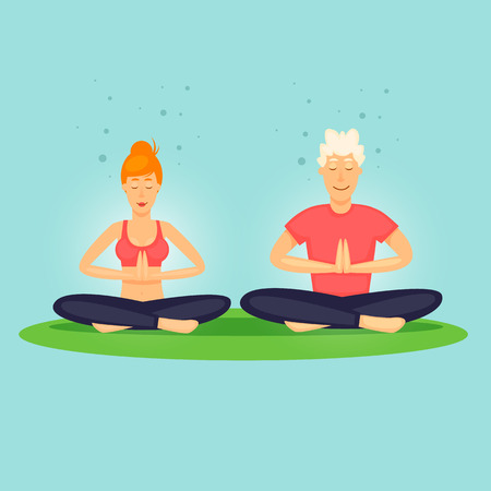 Guy and the girl are relaxing. Yoga, sports. Flat design vector illustration.