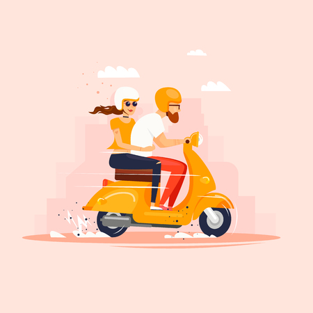Guy e la ragazza stanno cavalcando lo scooter. Illustrazione vettoriale di design piatto. Archivio Fotografico - 84855704
