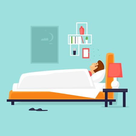 Man sleeps in bed at night. Flat design vector illustration. Illustration