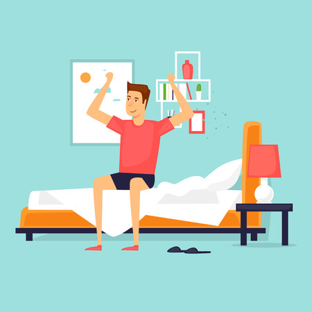 Man waking up in the morning stretching sitting on his bed after getting up. Flat design vector illustration. Vectores