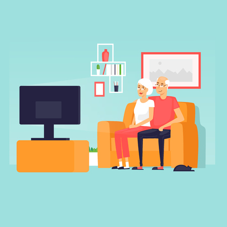 Pensioners are sitting on the couch watching TV. Flat design vector illustration. Иллюстрация