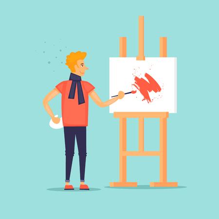 Artist draws a picture. Flat design vector illustration. Illustration