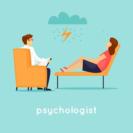 Psicólogo en la recepción. Ilustración de vector plano en estilo de dibujos animados. Logos