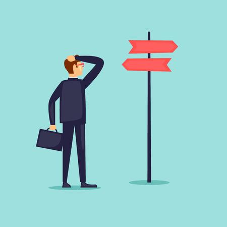 Businessman makes a choice. Flat design vector illustration. Stock Vector - 84855709