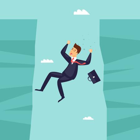 El hombre de negocios cae en el abismo, la crisis, la bancarrota. Diseño plano ilustración vectorial. Foto de archivo - 85131187