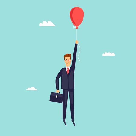 Businessman is flying in a hot air balloon. Flat design vector illustration. 向量圖像