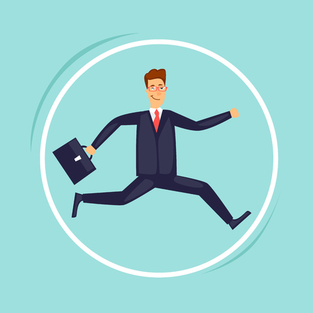 Businessman running in the wheel. Flat design vector illustration. Ilustracja