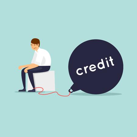Businessman with credit, crisis, bankruptcy, depression. Flat design vector illustration.