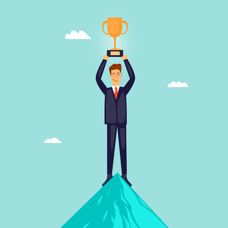 Businessman at the top of the mountain with a prize. Flat design vector illustration