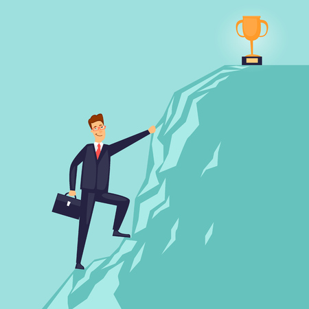 Businessman is climbing the mountain for the prize. Flat design vector illustration. Çizim