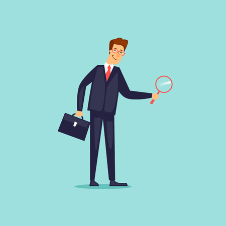 Businessman with magnifier. Flat design vector illustration. Illustration