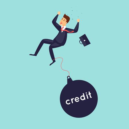 Businessman falls, crisis, bankruptcy. Flat design vector illustration. Illustration