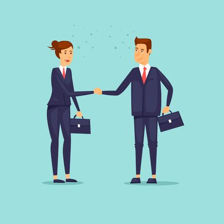 Businessmen shaking hands. Woman and a man. Flat design vector illustration.