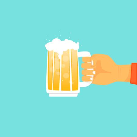 Hand holding mugs with beer. Flat design vector illustration. Çizim