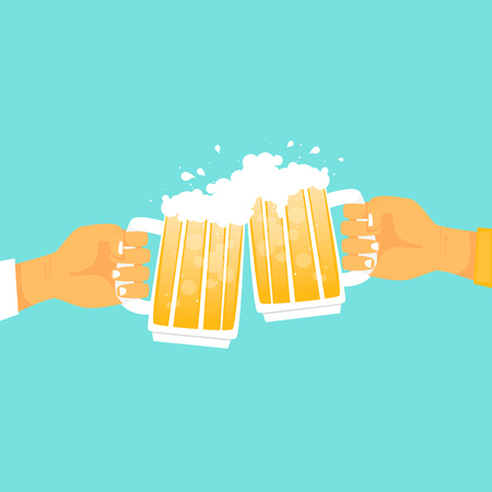 Hands holding mugs with beer. Flat design vector illustration. Çizim