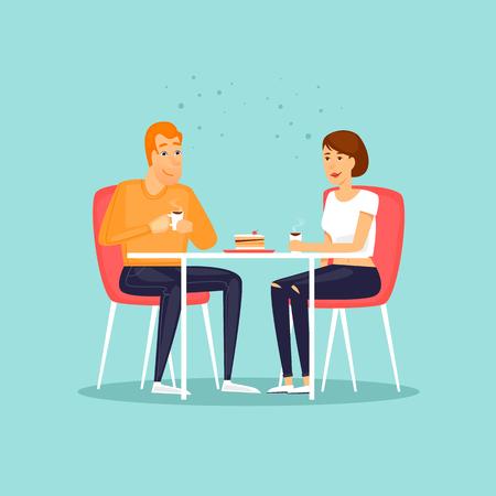 Chico y chica beben bebidas calientes. Pareja tomando un café. Ilustración de vector de diseño plano. Foto de archivo - 85130545