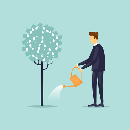 Businessman is watering a tree. Characters. Flat design vector illustration.