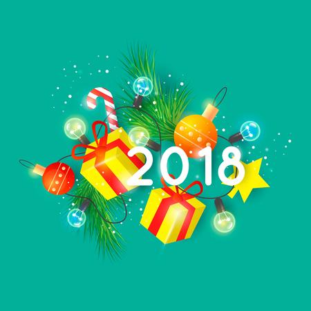 Vrolijk kerstfeest en gelukkig nieuwjaar 3D. Cadeaus. Prentbriefkaar, banner, drukwerk, wenskaart. Plat ontwerp.