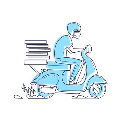 배달, 오토바이에있는 사람이 피자 얇은 라인을 나르고 있습니다. 문자. 평면 디자인 벡터 일러스트 레이 션.