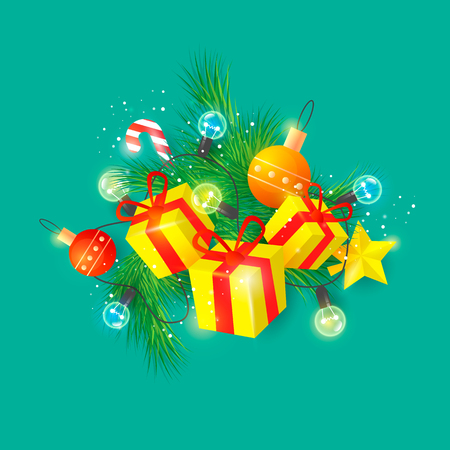Merry Christmas and Happy New Year 3D. Gifts. Postcard, banner, printed matter, greeting card. Flat design.