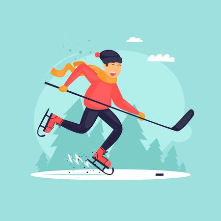 hockey goal: Boy playing hockey. Flat illustration.