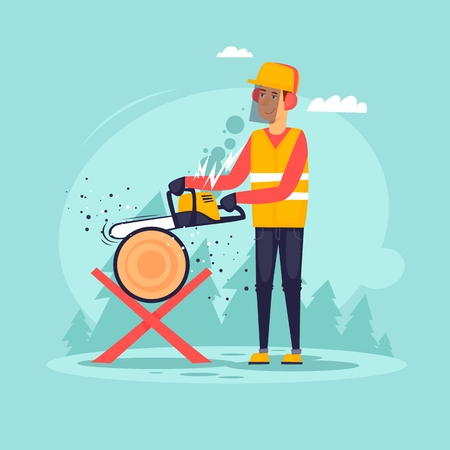 Woodcutter, sawing wood. Flat design vector illustration. Illustration