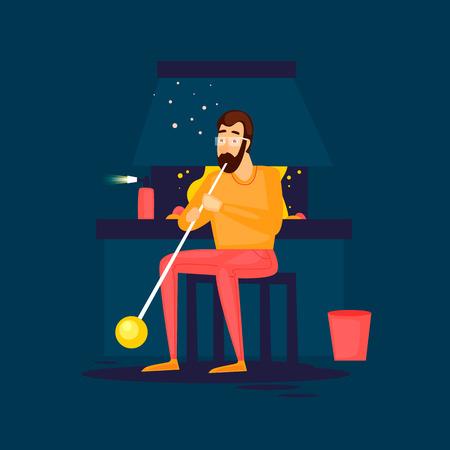 glasswork: Glass blower blows glass. Flat design vector illustration. Illustration