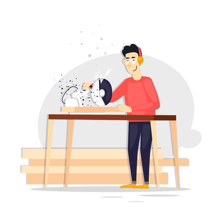 Carpenter, board, tree, character. Flat design vector illustration.