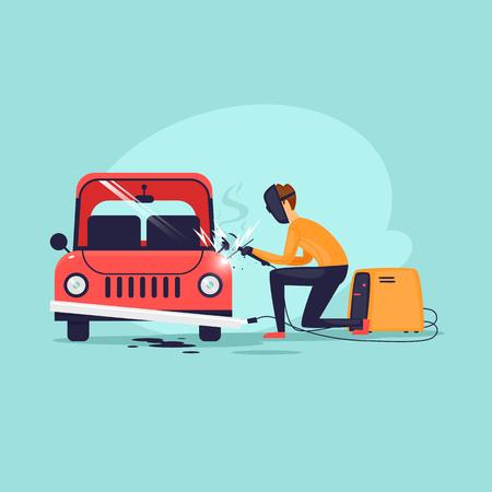 Welder, repair. Flat design vector illustration. Illusztráció