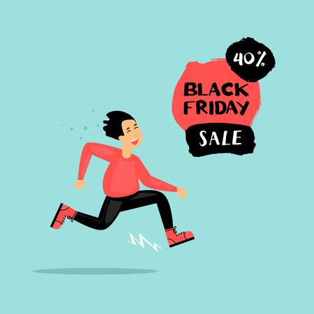 Black Friday guy runs to the store on sale. Flat design vector illustration. Ilustração
