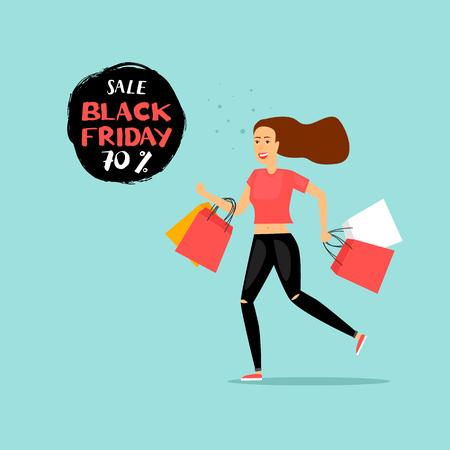 Black Friday girl runs to the store on sale. Flat design vector illustration.