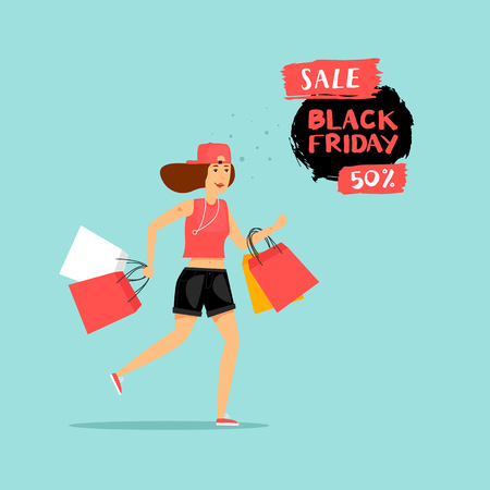 Black Friday girl runs to the store on sale. Flat design vector illustration.