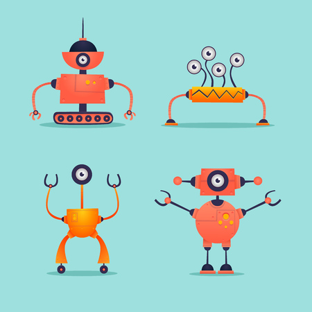 Robots set isolated. Flat design vector illustration.