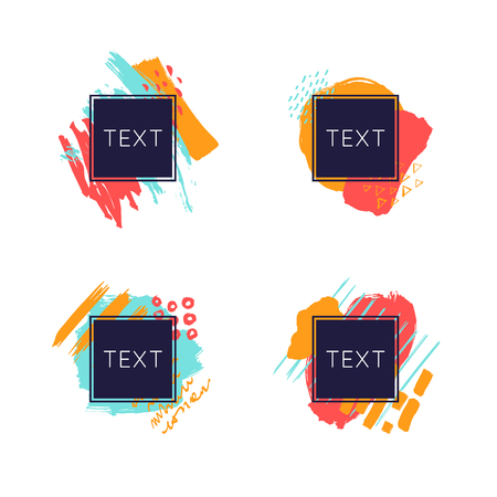 Vector frame for text with abstract spots. Modern graphics. Flayers and brochures, invitations, business cards. Splashes, brush strokes. Illusztráció