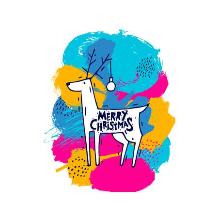 Cervo con scritta Merry Christmas in uno sfondo colorato per invito e biglietto di auguri. Archivio Fotografico - 86805436