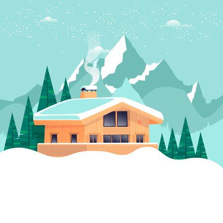Chalet, paysage d'hiver avec des montagnes. Illustration vectorielle design plat. Banque d'images - 87484849