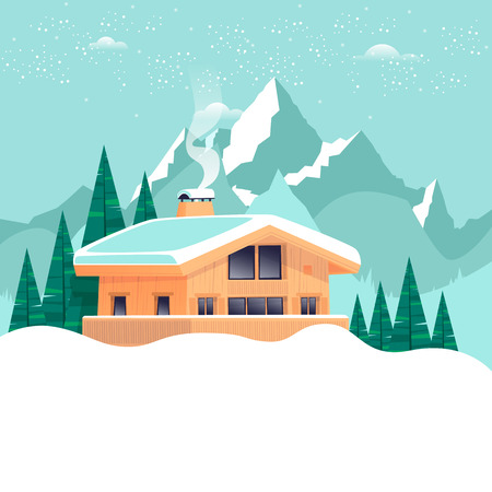 Chalet, winter landscape with mountains. Flat design vector illustration. Illustration