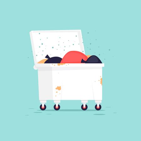 Wastebasket. Flat vector illustration in cartoon style. Illustration