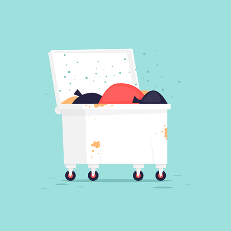Wastebasket. Flat vector illustration in cartoon style. 向量圖像