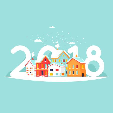 Winter cityscape 2018. Flat vector illustration in cartoon style. Illustration