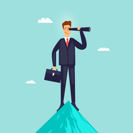 Businessman at the top of a mountain looks into a telescope. Flat vector illustration in cartoon style.