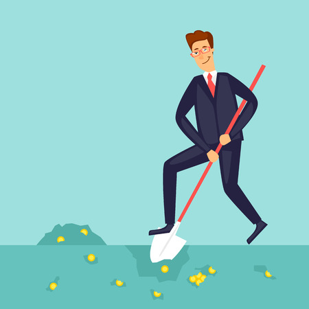 flat earth: Businessman digging the earth. Flat vector illustration in cartoon style.