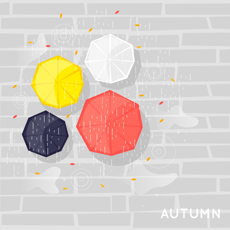 Autumn, umbrellas it rains, overhead view. Flat vector illustration.