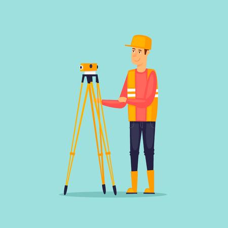 geodesy: Surveyor makes measurements. Flat vector illustration in cartoon style.