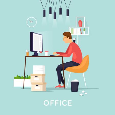 Jonge man aan het werk op de computer programmeur, bedrijfsanalyse, ontwerp, strategie. Platte vectorillustratie in cartoon stijl. Stock Illustratie